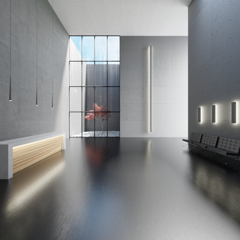 A 3D render of a modern waiting area. It is a large open space with dark flooring and light grey walls, but it feels light and airy due to carefully placed modern lighting fixtures and a large floor-to-ceiling window which looks out on a small walled courtyard with a small tree with red leaves. There is black leather seating along the right wall, and one long white bench along the left wall.