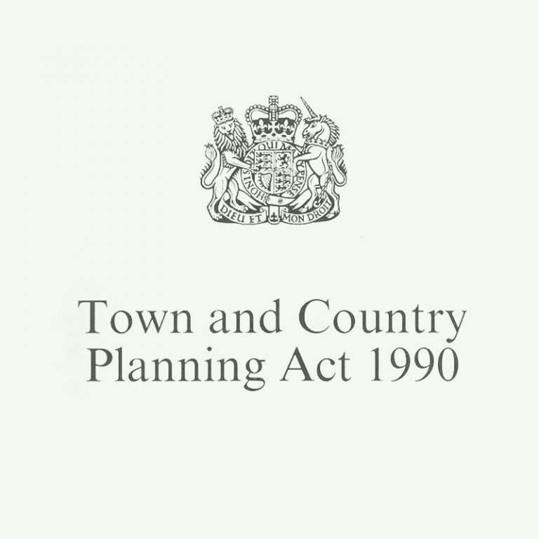 """Town and Country Planning Act 1990"" below the Royal coat of arms of the United Kingdom"