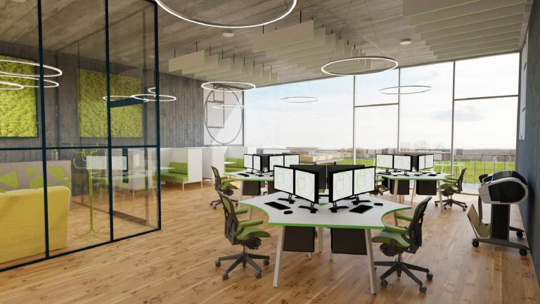 A render of an open plan office. The large far wall is a floor to ceiling window with views to green scenery beyond. The interior has pale wooden flooring contrasted with charcoal-coloured walls. There are three shared work tables in the main room, and along one wall are private booths with tables and benches. There is a personal office on the left separated from the main room by glass walls. The room looks professional, but spacious, light, and relaxed.