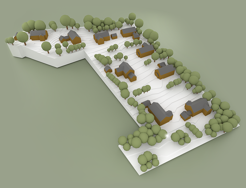 A high-quality render of the basic design of a residential development, showing locations of buildings and trees, as well as the typography of the land.